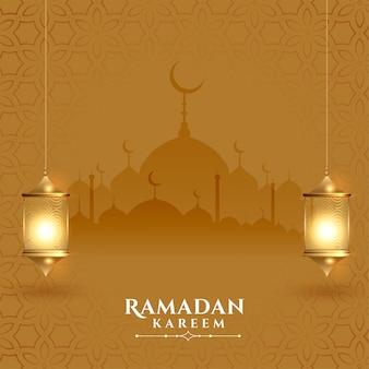 Beautiful ramadan kareem festival card with lanterns