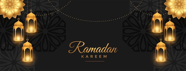Beautiful ramadan kareem wide banner in black and golden style