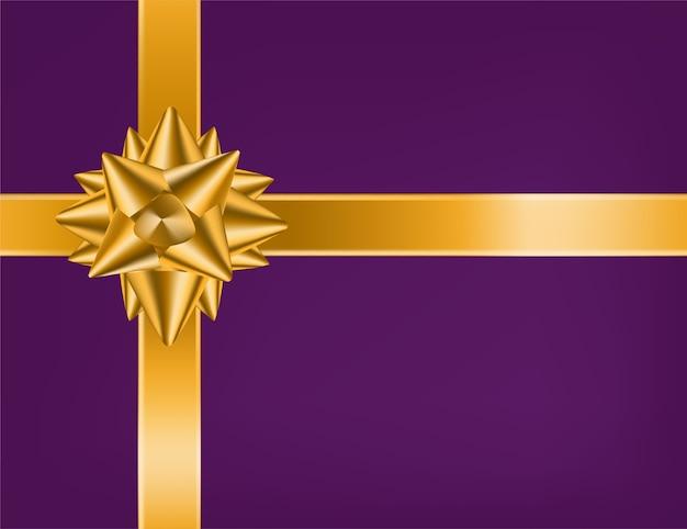 Красивая реалистичная перекрещенная золотая лента и атласный или шелковый петельный бант на фиолетовом