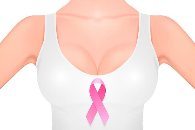 Красивая реалистичная женская грудь в белой майке с крупным планом розовой ленты на белом фоне. шаблон оформления. концепция осведомленности рака молочной железы. фондовый вектор. eps10 иллюстрации.