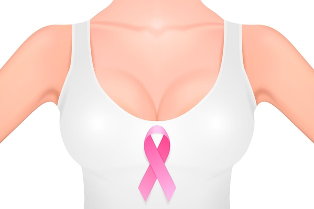 Beautiful realistic female breast in a white tank top with pink ribbon close-up isolated on white background. design template. breast cancer awareness concept. stock vector. eps10 illustration.