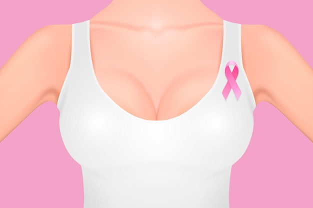 Beautiful realistic female breast in a white tank top with pink ribbon close-up on pink background. design template. breast cancer awareness concept. stock vector. eps10 illustration.