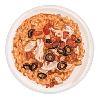 Вектор ручной обращается блюдо из риса