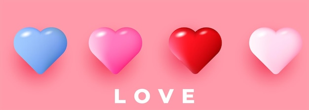 Beautiful realistic  hearts illustrations