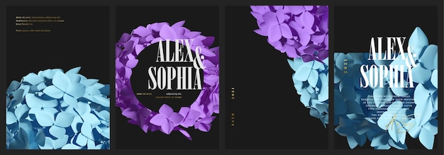 Beautiful realistic hydrangea flower cover set