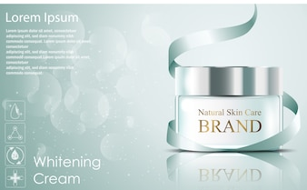 Beautiful realistic hydrating facial cream cosmetic ads