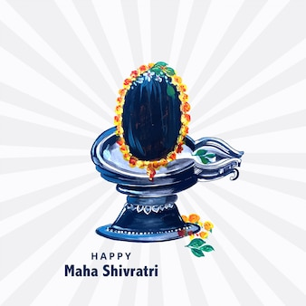 Beautiful realistic lord shiva shivling for maha shivratri card design