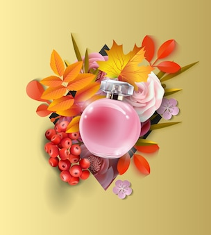 Beautiful realistic perfume bottle on the background  autumn leaves and red berries