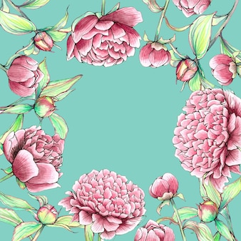 Beautiful rectangle peonies flowers border on mint background
