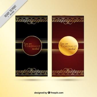 Красивый красный и золотой приглашение