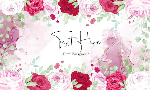 우아한 알코올 잉크와 함께 아름다운 빨간색과 분홍색 꽃 프레임 배경