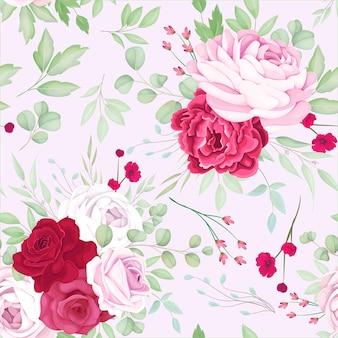 Красивая красная и розовая цветочная рамка бесшовные модели