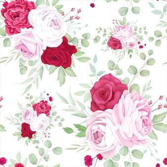 美しい赤とピンクの花のフレームのシームレスなパターンデザイン