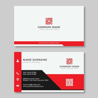 아름다운 빨간색과 흰색 명함 디자인 서식 파일