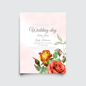 美しい赤と黄色のバラの水彩画の結婚式の招待カード