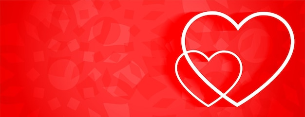 Beautiful red banner with two white line hearts