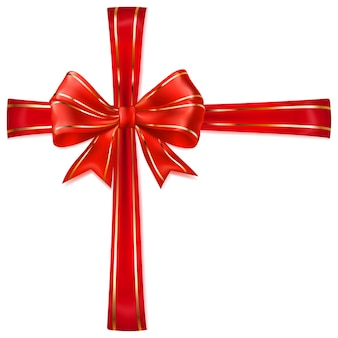 Beautiful red bow with crosswise ribbons with golden strips with shadow