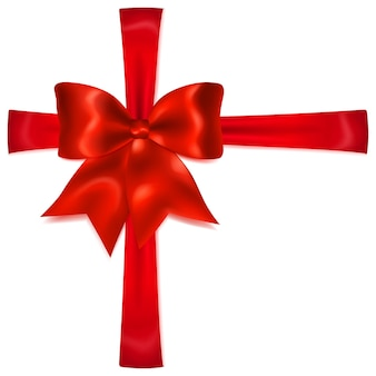 Beautiful red bow with crosswise ribbons with shadow
