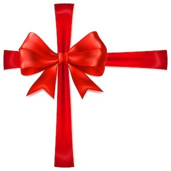 그림자가 있는 십자형 리본이 있는 아름다운 붉은 활
