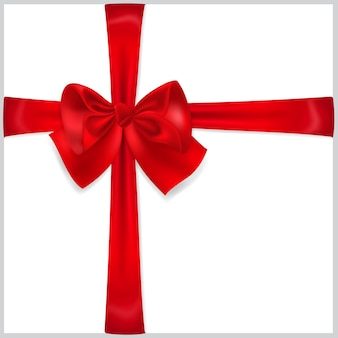 Beautiful red bow with crosswise ribbons