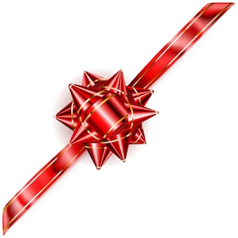 Beautiful red bow with diagonal ribbon with golden strips with shadow