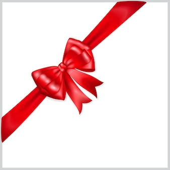 Beautiful red bow with diagonally ribbon