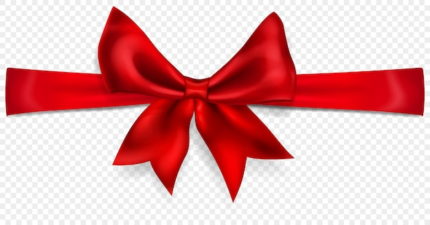 Beautiful red bow with horizontal ribbon with shadow, isolated on transparent background. transparency only in vector format