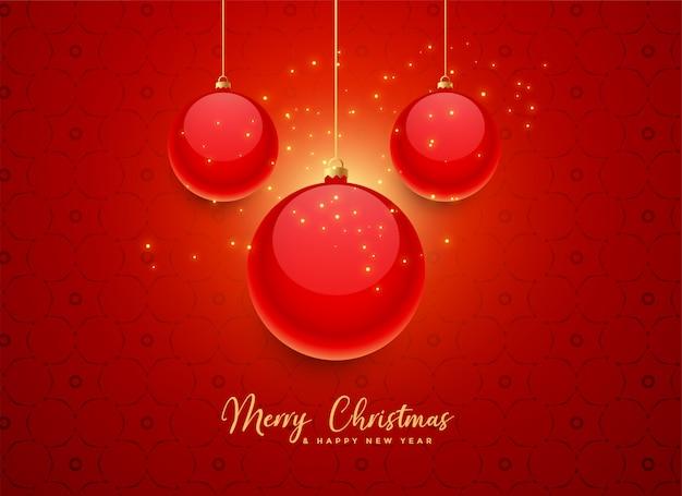 美しい赤いクリスマスボールの背景