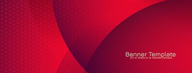 Bellissimo banner in stile onda di colore rosso
