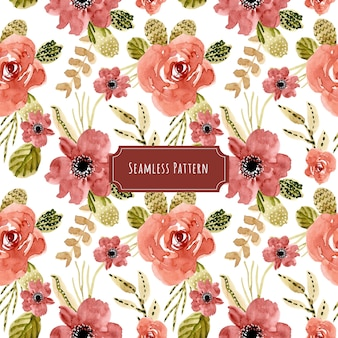 Beautiful red floral watercolor seamless pattern