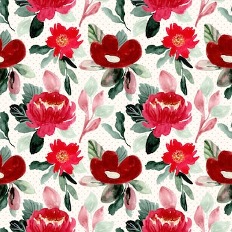 Beautiful red flower watercolor seamless pattern