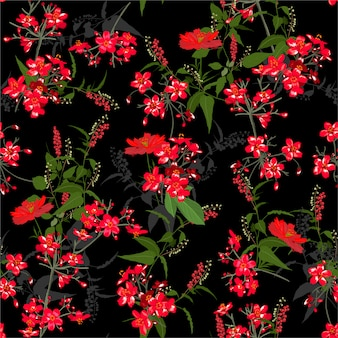 Beautiful red garden flower pattern. botanical motifs scattered random. seamless vector texture. for fashion prints. printing with in hand drawn style