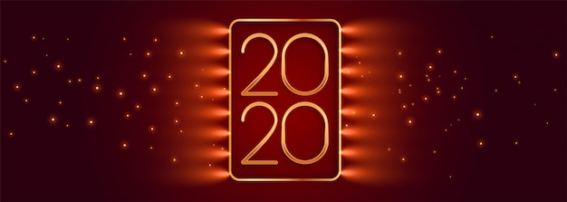 Beautiful red glowing happy new year banner