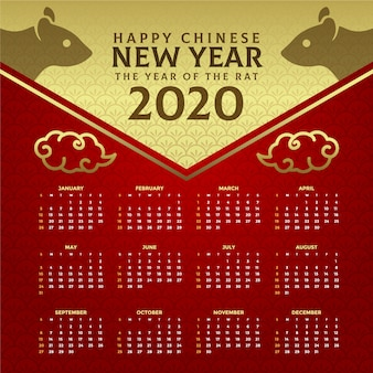 Beautiful red & golden chinese new year calendar