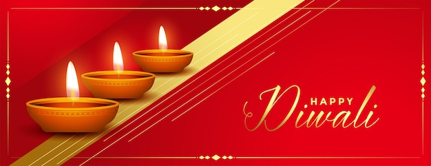 Beautiful red and golden happy diwali festival banner