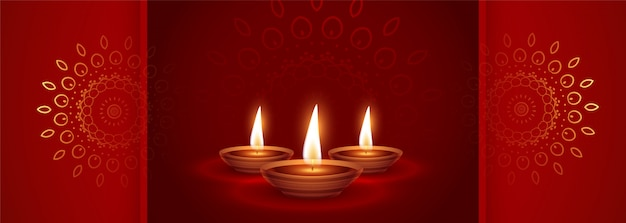 Beautiful red happy diwali festival ethnic banner