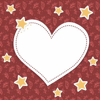 Красивая красная сердечная рамка на рождество