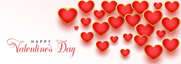 Beautiful red hearts for happy valentines day