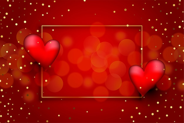 Beautiful red love background with hearts and golden glitter