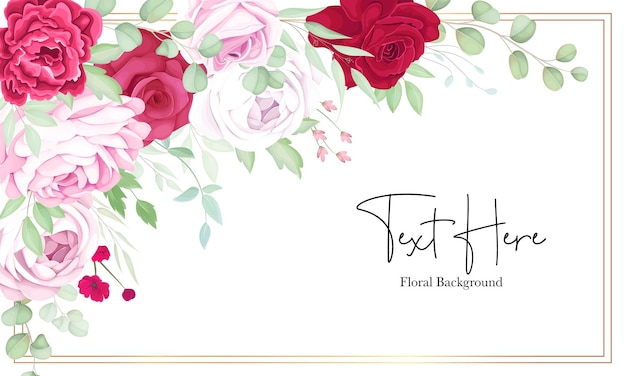 Beautiful red and pink floral frame background with elegant alcohol ink