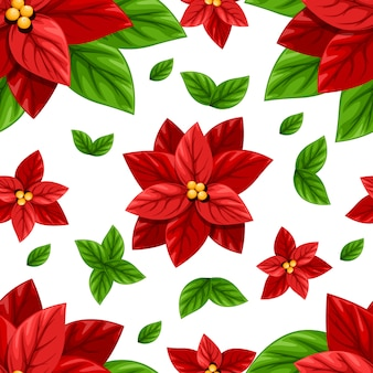 Beautiful red poinsettia flower and green leaves christmas decoration seamless  illustration  on white background with place for your text
