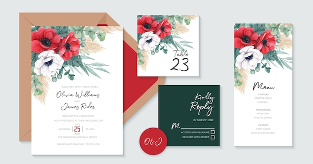 Beautiful red poppies wedding invitation set templates