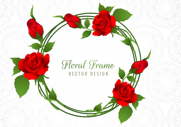Beautiful red rose flower frame