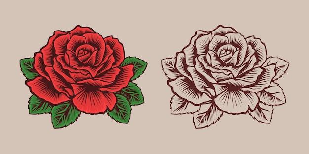 아름다운 붉은 장미 꽃 그림