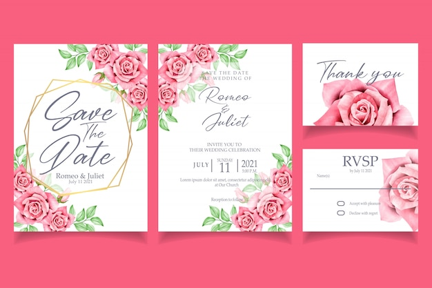 Beautiful red rose flower watercolor invitation wedding party