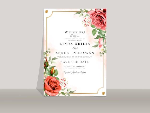 Красивый шаблон свадебного приглашения с красной розой
