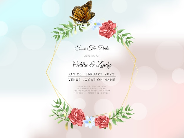 Beautiful red rose wreath with butterfly wedding invitation template