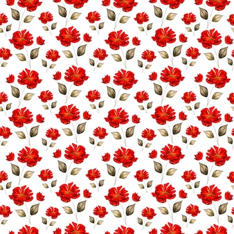 Beautiful red roses decorated seamless pattern background.
