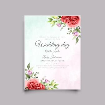 美しい赤いバラのイラストの結婚式の招待カード