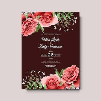 美しい赤いバラの水彩画の結婚式の招待カード